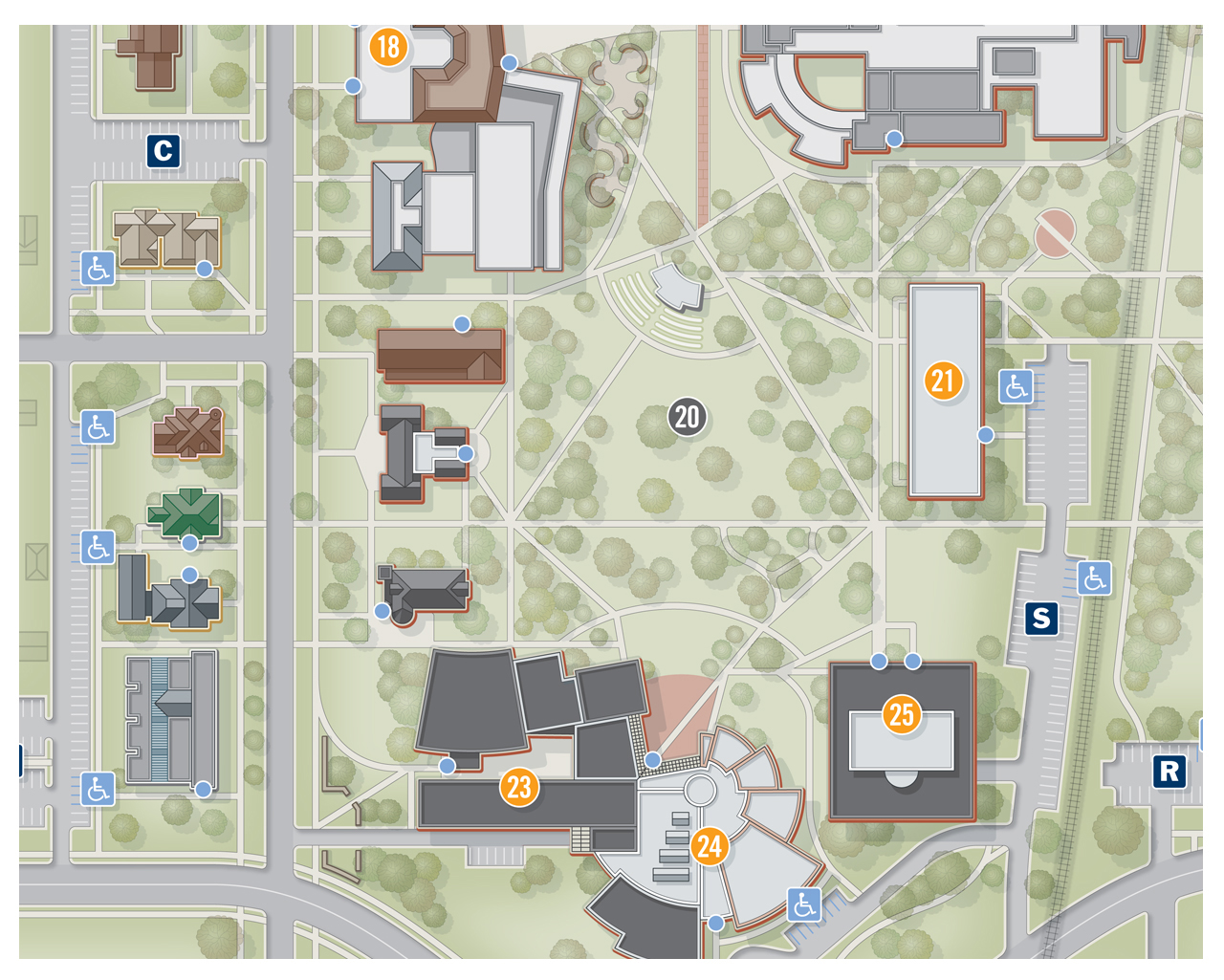 grinnell college campus map City College Campus Map Illustration Design grinnell college campus map