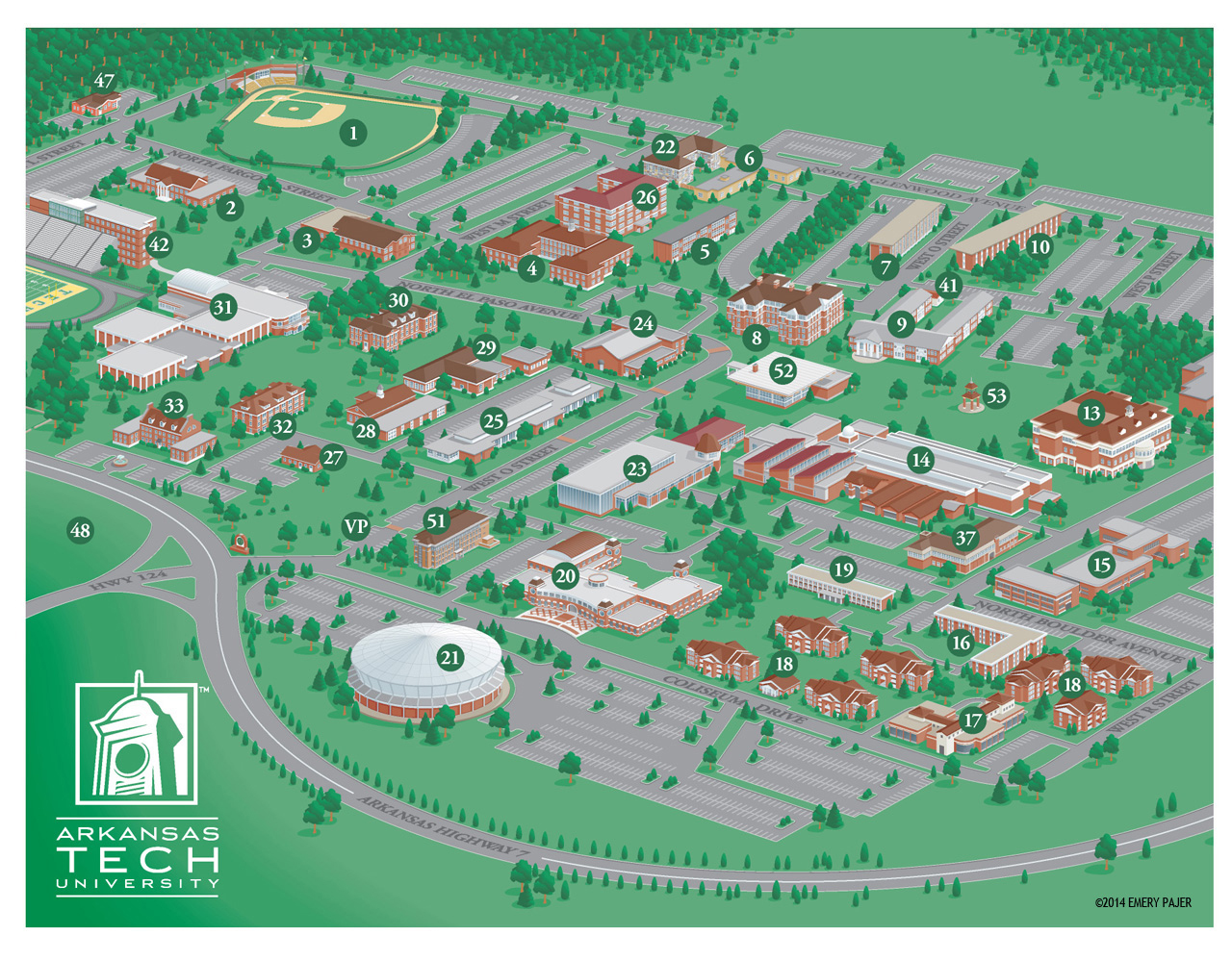 d wayfinding campus map of arkansas technical university. wayfinding city park and college campus map illustration  design