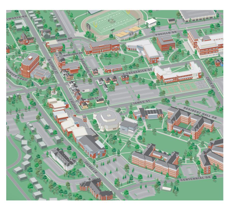 Millersville Campus Map 3D College Campus Map   Millersville Millersville Campus Map