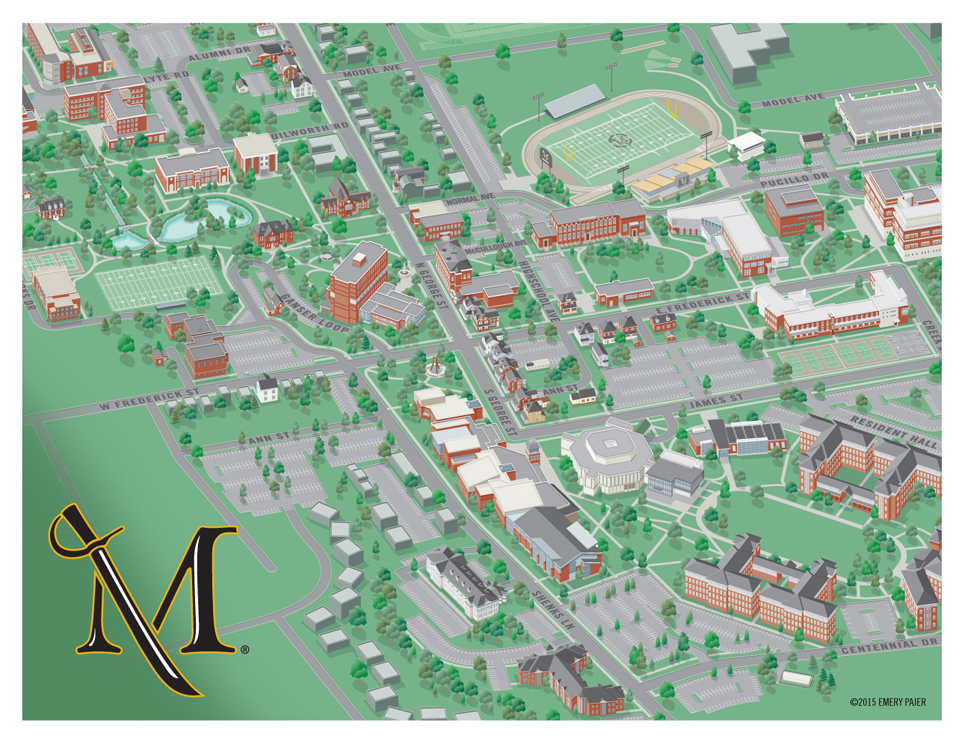 Wayfinding City Park and College Campus Map Illustration & Design